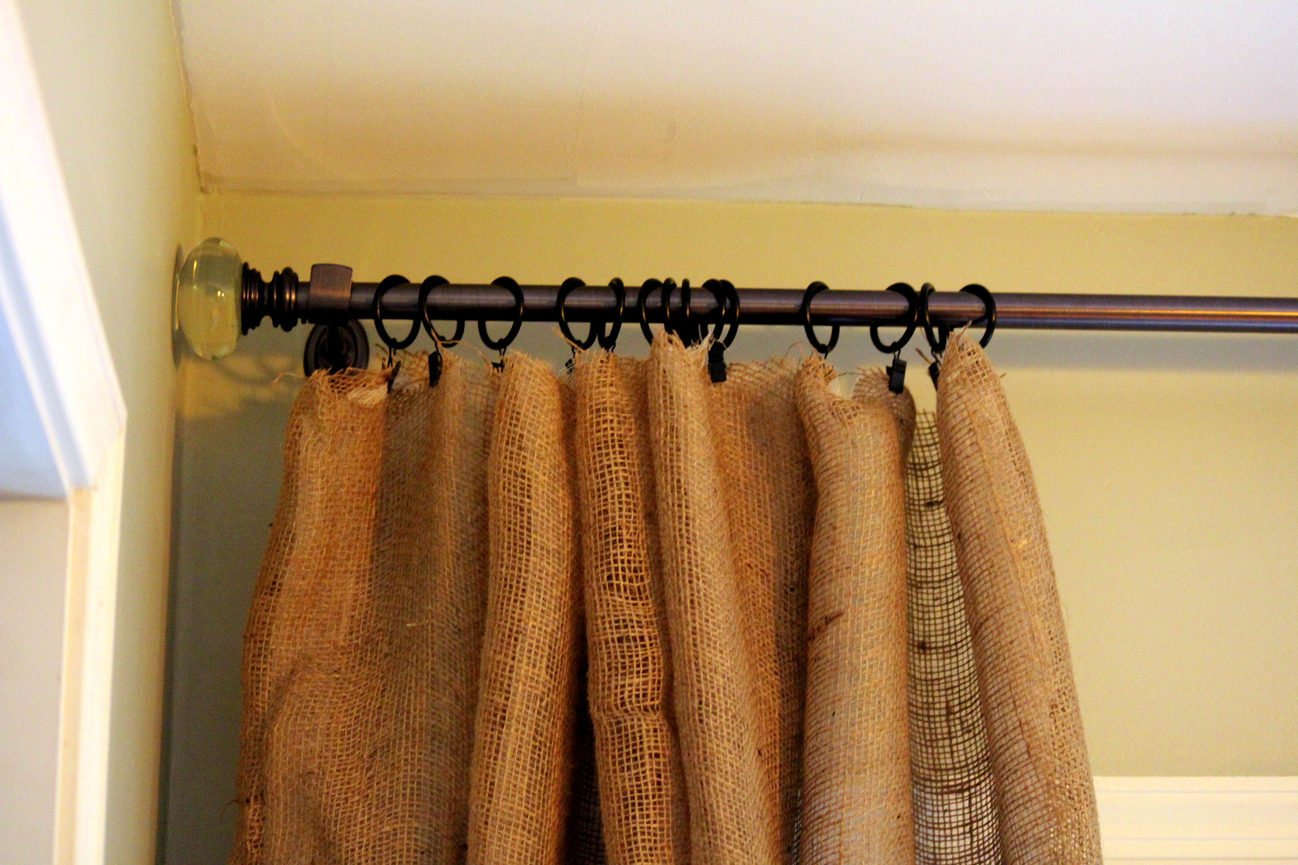Diy Burlap Kitchen Curtains The easiest curtains i have